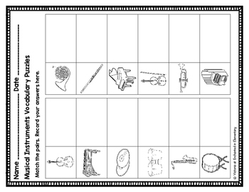 Vocabulary Puzzles: Musical Instruments Set