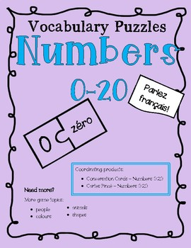 Vocabulary Puzzles - Numbers 0-20