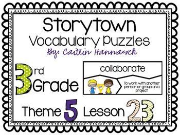 Vocabulary Puzzles StoryTown 3rd Grade Lesson 23