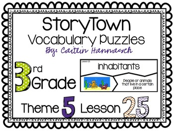 Vocabulary Puzzles StoryTown 3rd Grade Lesson 25