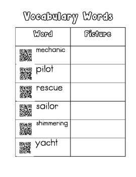 Vocabulary QR Code Reading Street Mayday! Mayday!