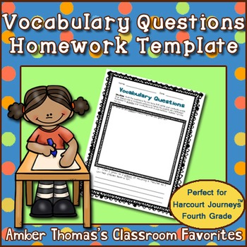 Vocabulary Questions Homework Template Freebie