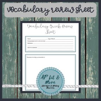 Vocabulary Quick Review Sheet
