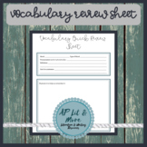 Vocabulary Quick Review Sheet