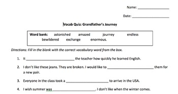 Grandfather's Journey by Allen Say, Vocabulary Quiz