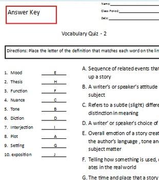 Vocabulary Quiz 2 - More Literary Terms