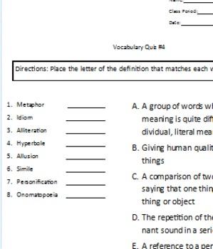 Vocabulary Quiz 4 - Figurative Language