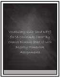 """Vocabulary Quiz- """"A Christmas Carol"""" by Charles Dickens Part 1"""