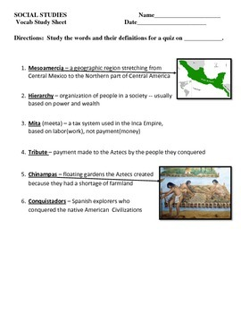 Vocabulary Quiz - Ancient Americas