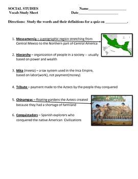Vocabulary Quiz - Ancient Americas