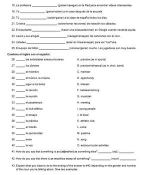 Vocabulary Quiz Chapter 1B Realidades 2 for PDF and Google Slides