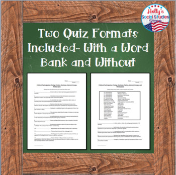 Vocabulary Quiz: Elections, Interest Groups, and Media - AP® Government