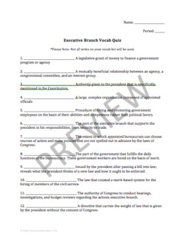 Vocabulary Quiz: Executive Branch - AP® Government