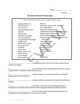 Executive Branch Vocabulary Quiz: AP® Government (UPDATED for 2019 Redesign)