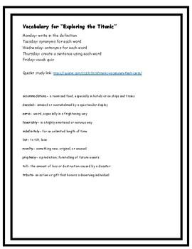 "Vocabulary Quiz- ""Exploring the Titanic"" by Robert D. Ballard"
