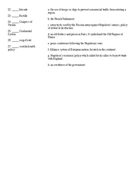 Vocabulary Quiz -- French Revolution