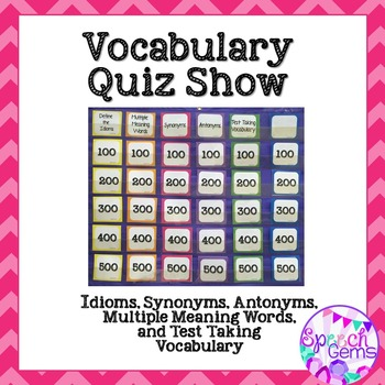 Vocabulary Quiz Game: Idioms, Multiple Meaning Words & Test Taking Words
