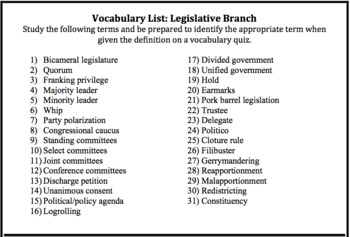 Legislative Branch Vocabulary Quiz: AP® Government (UPDATED for 2019 Redesign)