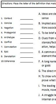 Vocabulary Quiz - Literary Terms
