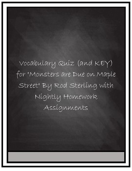 """Vocabulary Quiz- """"Monsters Are Due on Maple Street"""" by Rod Serling"""
