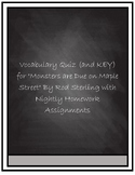 """Vocabulary Quiz- """"Monsters Are Due on Maple Street"""" by Rod"""