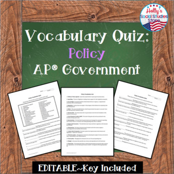 Vocabulary Quiz: Policy Unit - AP® Government