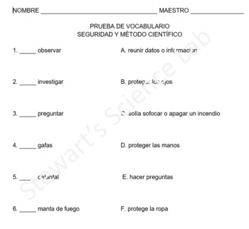 Vocabulary Quiz- Safety Tools and Scientific Method Spanish