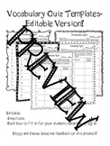 Vocabulary Quiz Templates- Editable Version Included!