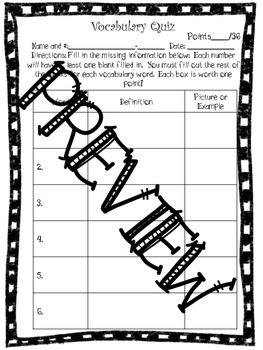 Vocabulary Quiz Templates- Editable Version Included!