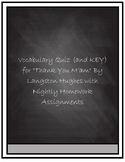 """Vocabulary Quiz- """"Thank You, M'am"""" by Langston Hughes"""