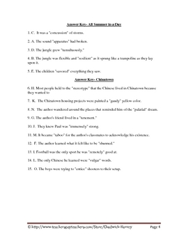Vocabulary Quiz Worksheet for All Summer in a Day and Chinatown