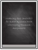 """Vocabulary Quiz- """"Zebra"""" by Chaim Potok"""