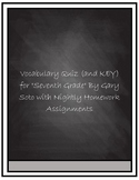"""Vocabulary  Quiz for """"Seventh Grade"""" By Gary Soto"""