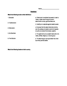 Vocabulary Quiz on Genocide