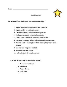 Vocabulary Quiz using definition and part of speech to determine meaning of word