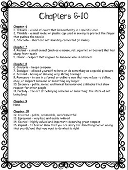 Vocabulary Quizzes with Answer Keys for The Tale of Despereaux