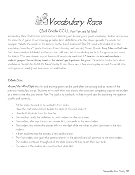 Vocabulary Race (2nd Grade CC LL Fairy Tales and Tall Tales)