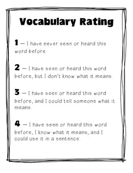 Vocabulary Rating - A Pre-Reading and Post-Reading Vocabulary Activity