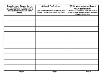 Vocabulary Rating Trifold