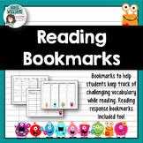 Vocabulary & Reading Response Bookmarks (Monster Theme)