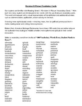 Vocabulary Reading Street  Project 100 Vocabulary words Vocabulary Card