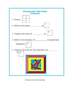 Vocabulary Reading Work Station/ Literacy Center: 4-Square