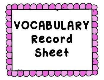 Vocabulary Record Sheet