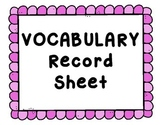 Vocabulary Record Sheet