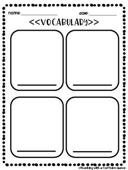 Vocabulary Recording Sheets for Primary Grades