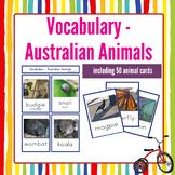 Australian Animal Flashcards in English Vocabulary Resource