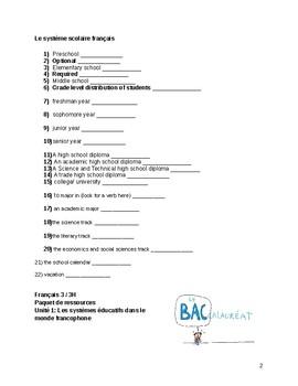 La Rentrée et le système éducatif français: Vocabulary Resource Packet & Project