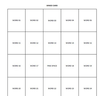 Bingo Vocabulary Review Game Template for PowerPoint