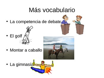 Vocabulary Review, Expresate Chapter 4, Vocab 2, Spanish 2