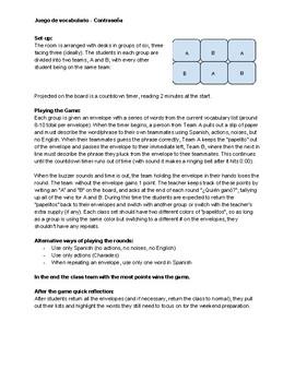 Vocabulary Review Game - Contraseña